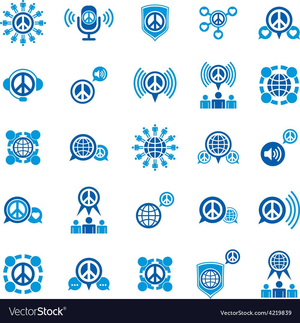 Peace and earth unusual icons set creative symbols vector