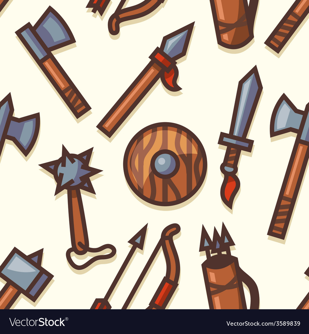 Seamless pattern with medieval weapons icons vector | Price: 1 Credit (USD $1)