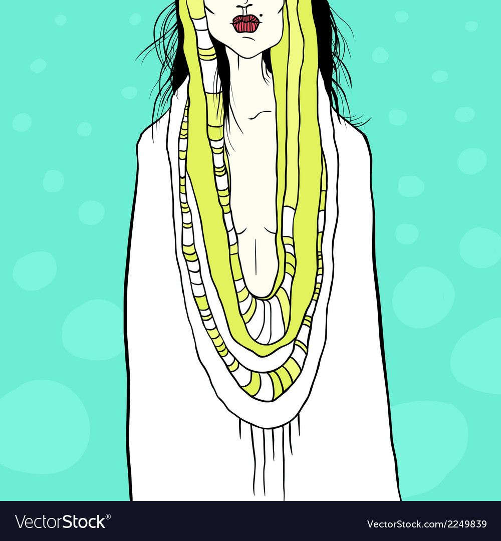 Stylish with woman and drapery vector   Price: 1 Credit (USD $1)