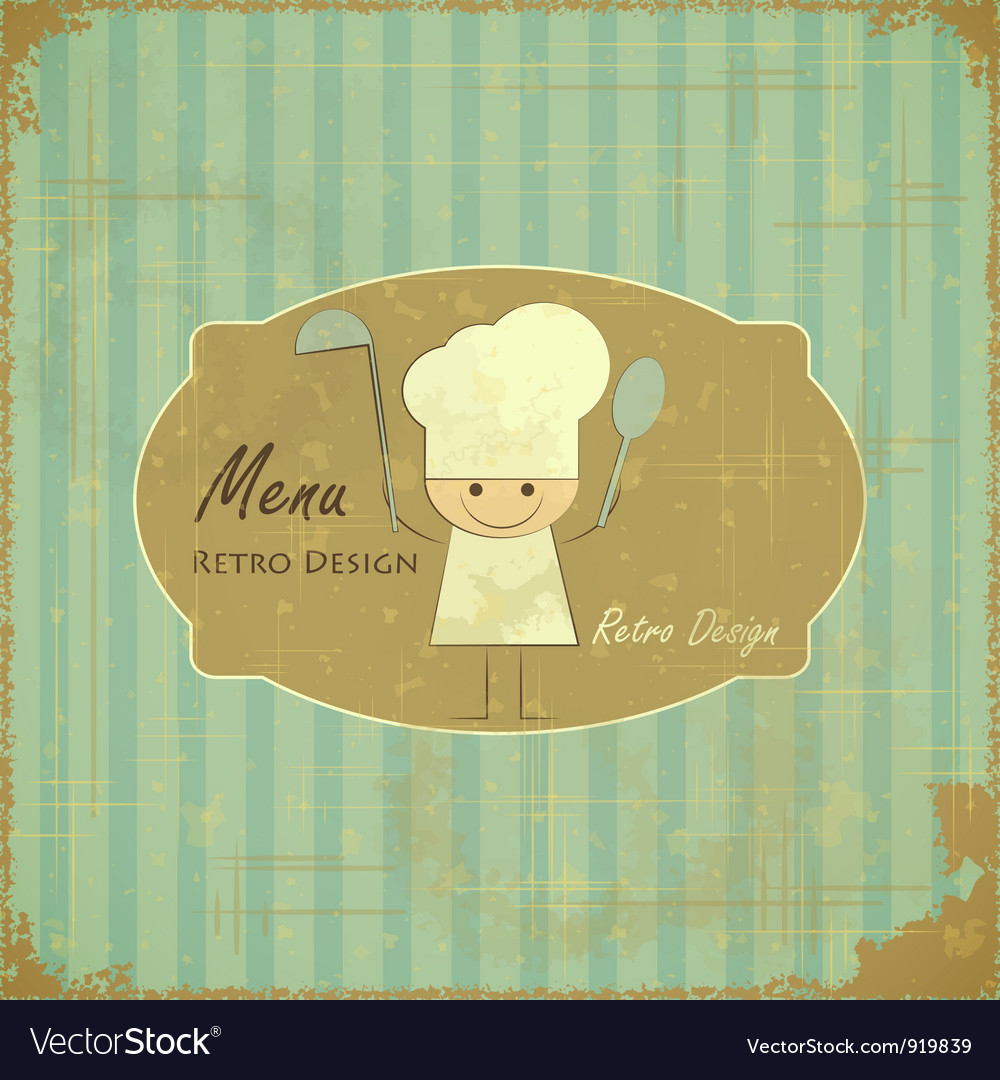 Vintage menu card design with chef vector | Price: 1 Credit (USD $1)