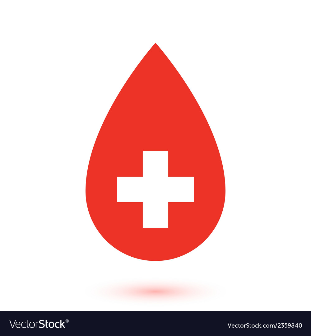 Abstract flat red drop with white cross inside vector | Price: 1 Credit (USD $1)