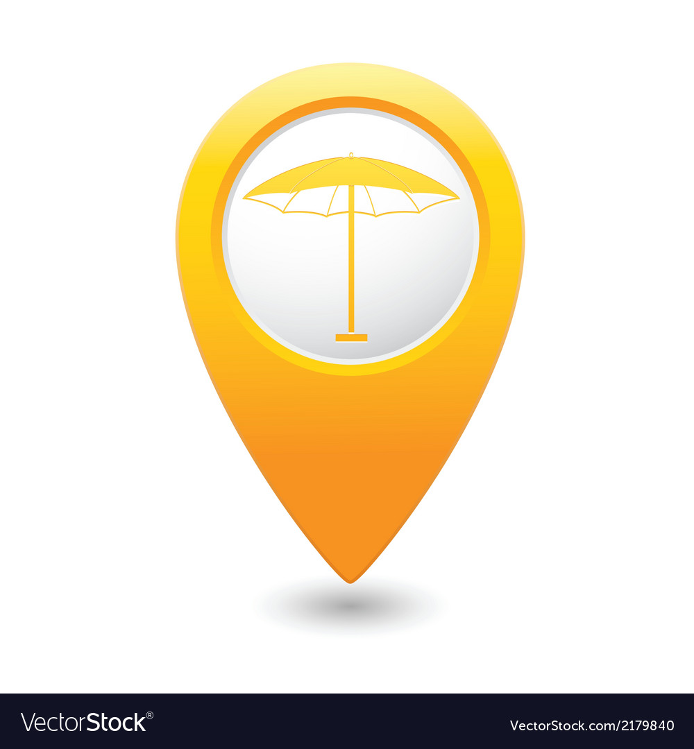 Beach umbrella icon icon on yellow pointer vector | Price: 1 Credit (USD $1)