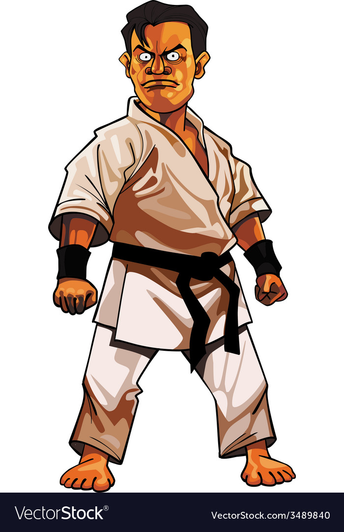 Cartoon stern man in a kimono with a black belt vector   Price: 3 Credit (USD $3)