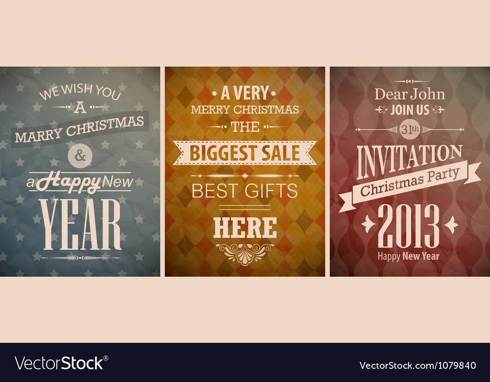 Christmas vintage set retro greeting cards vector   Price: 1 Credit (USD $1)