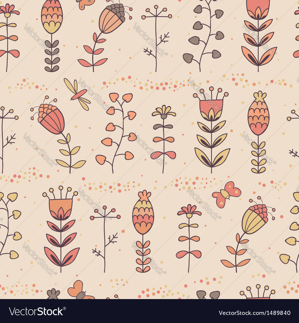 Floral seamless pattern in cartoon style vector | Price: 1 Credit (USD $1)
