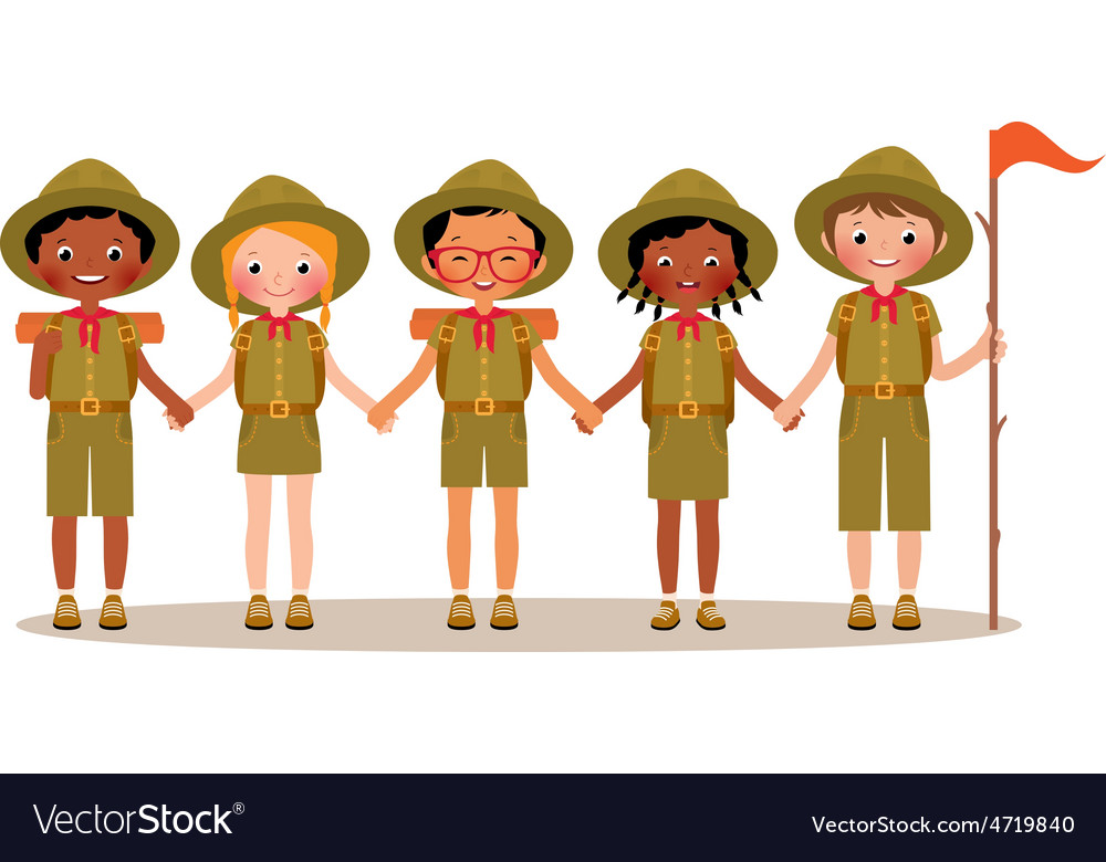 Group of children boys and girls scouts vector