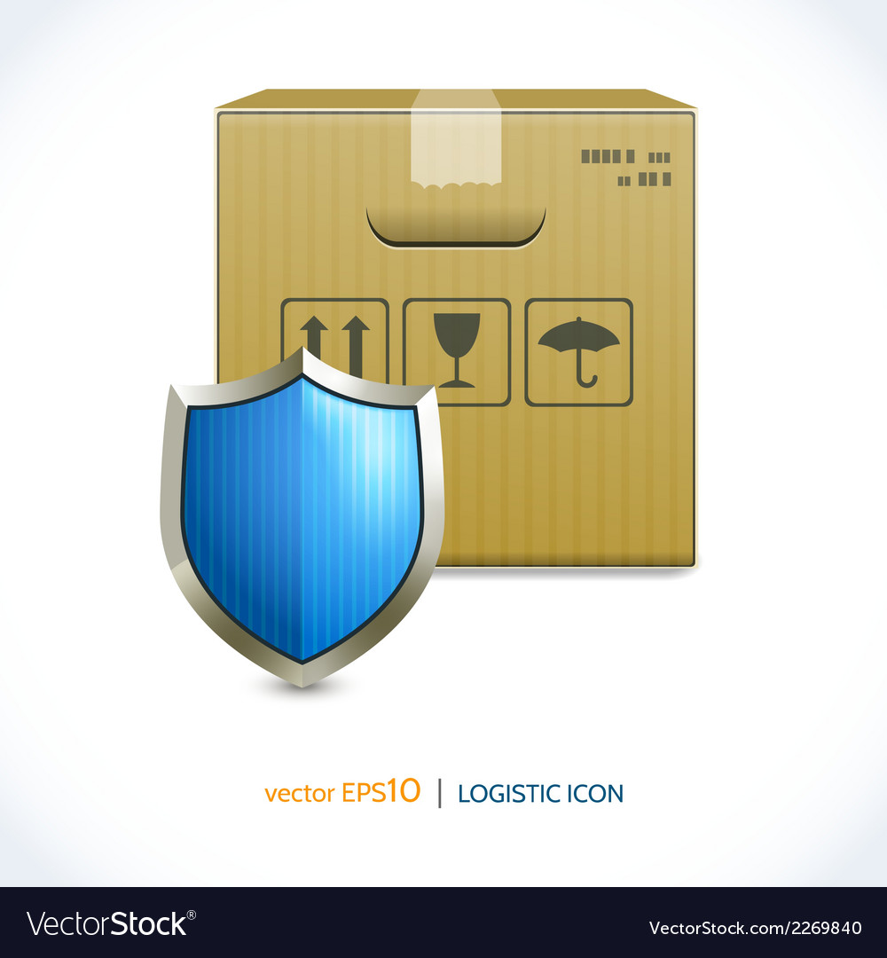 Logistic icon box and shield vector | Price: 1 Credit (USD $1)