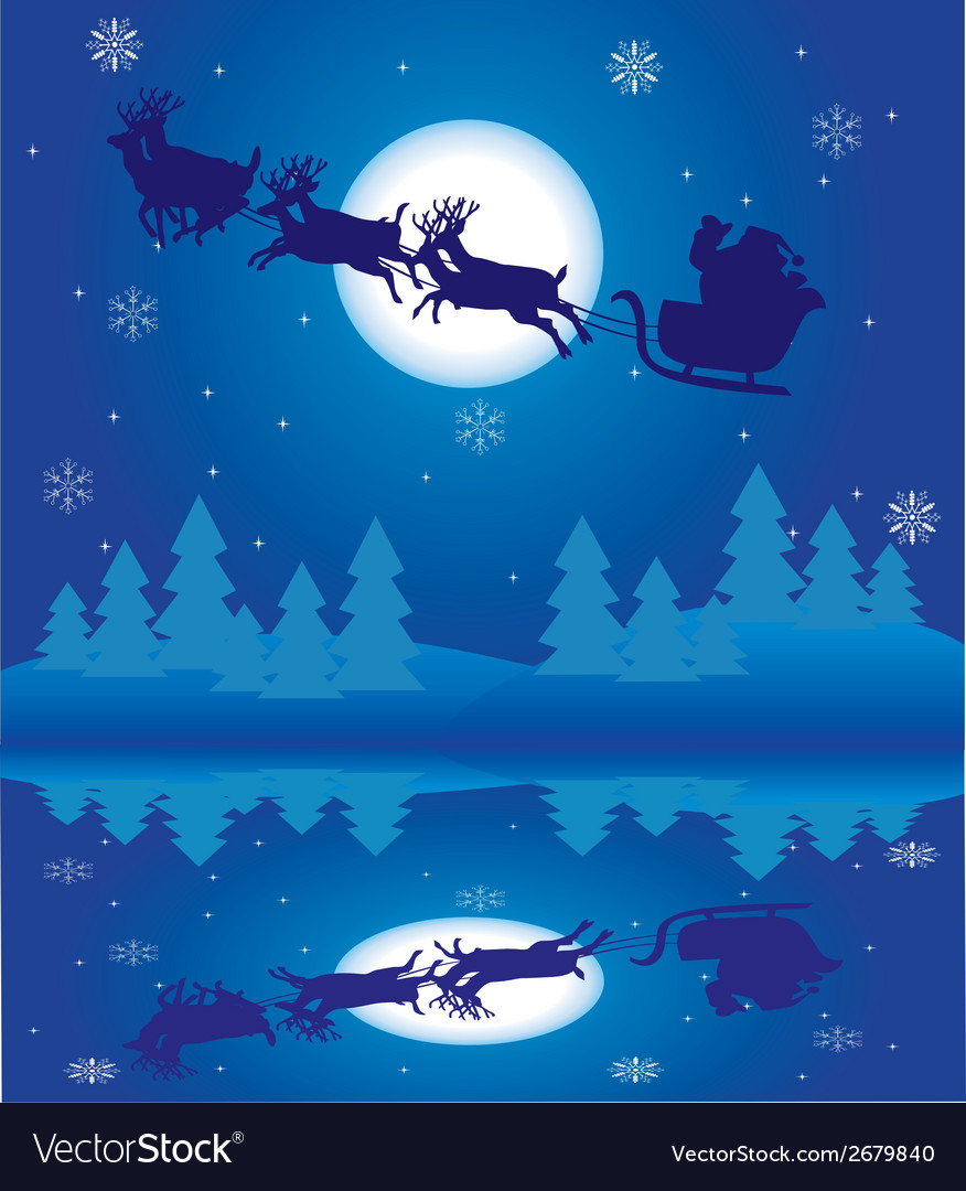 Santa reflection 2 vector | Price: 1 Credit (USD $1)