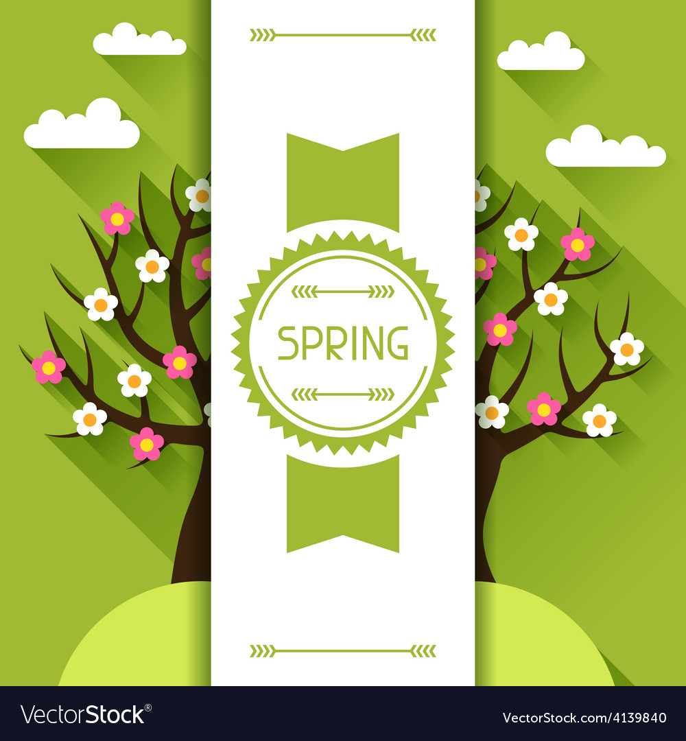 Seasonal with spring tree in flat vector | Price: 1 Credit (USD $1)