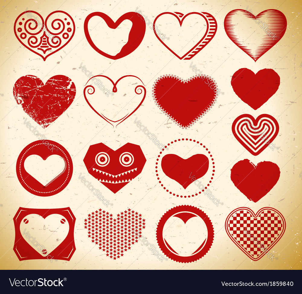 Set of trendy vintage heart signs on grungy paper vector | Price: 1 Credit (USD $1)