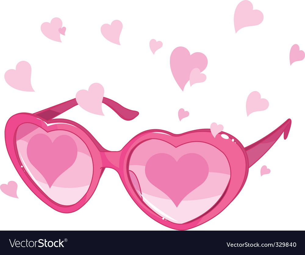 Valentine pink glasses vector | Price: 1 Credit (USD $1)