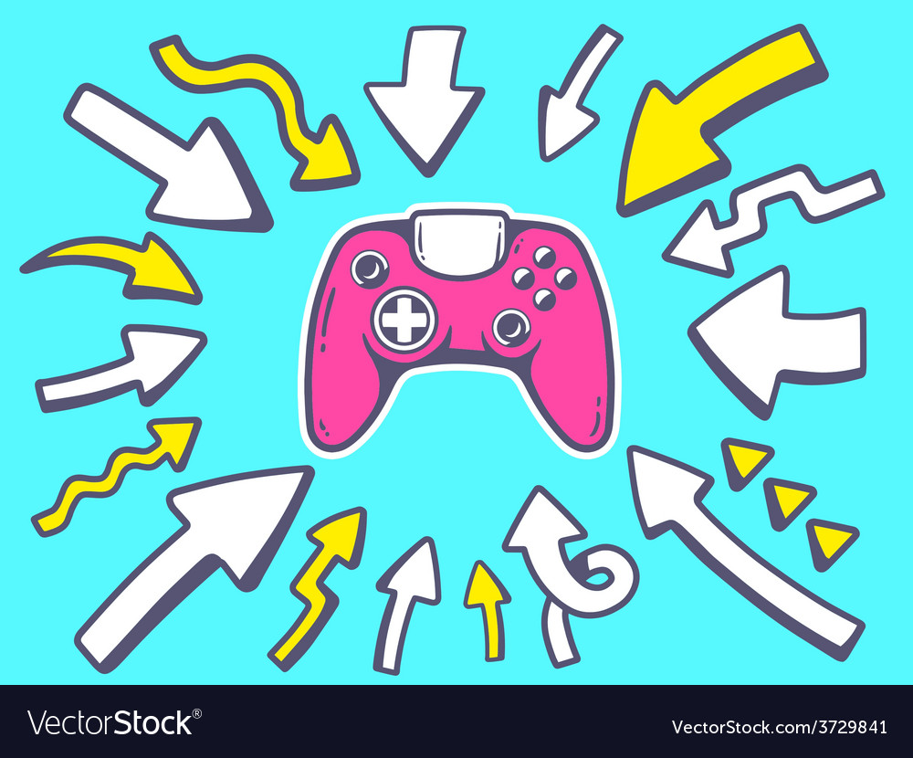 Arrows point to icon of joystick on blue vector | Price: 1 Credit (USD $1)