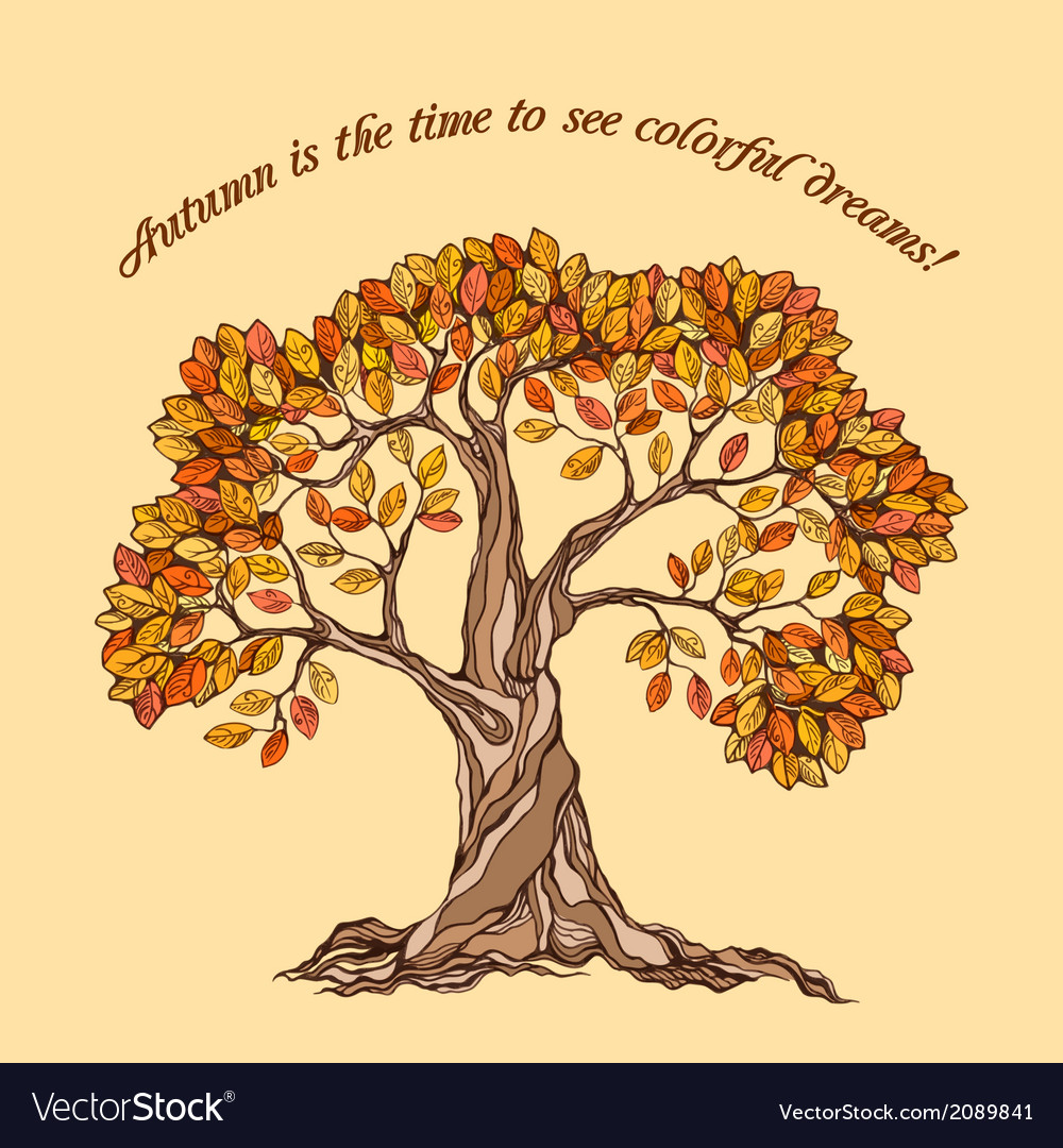 Autumn tree poster vector | Price: 1 Credit (USD $1)