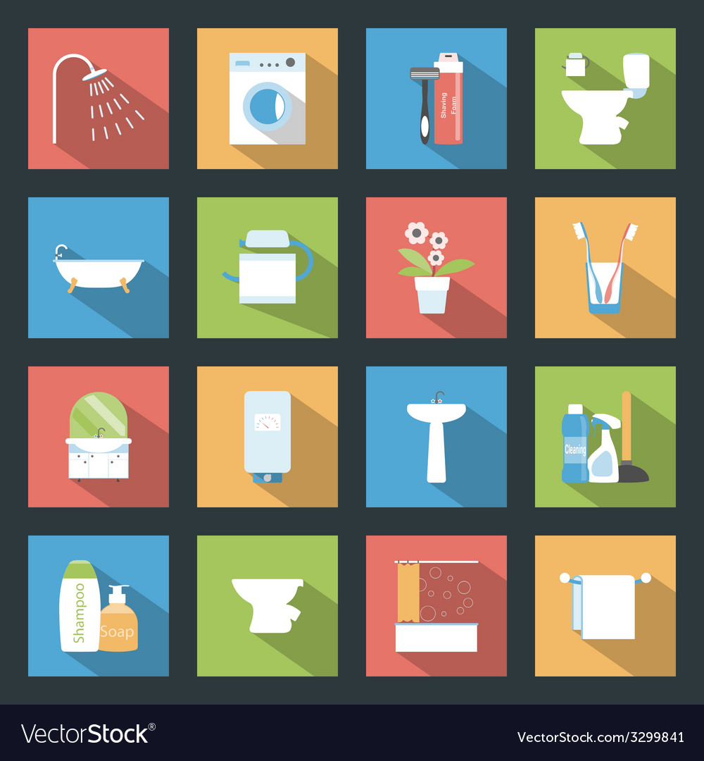 Bathroom flat icons set vector | Price: 1 Credit (USD $1)