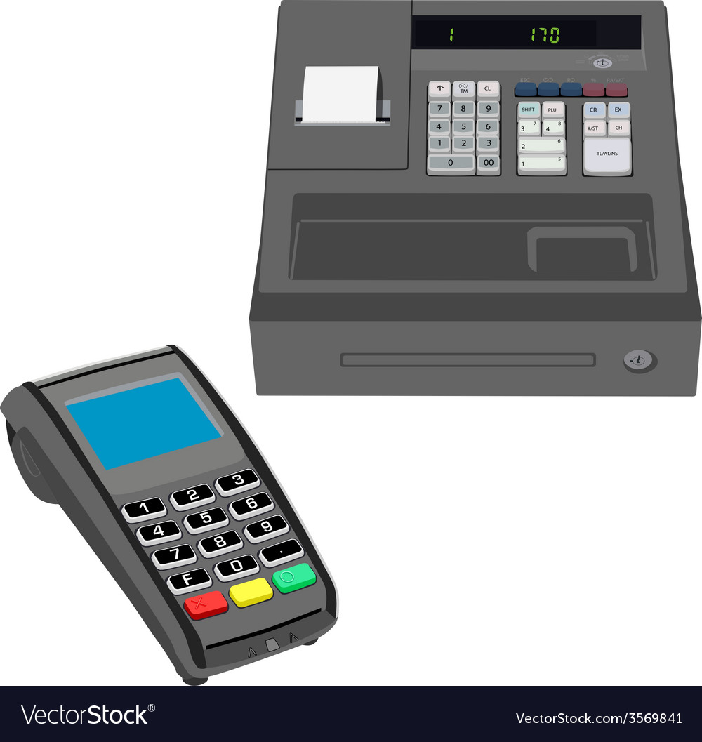 Cash register and pos terminal vector | Price: 1 Credit (USD $1)