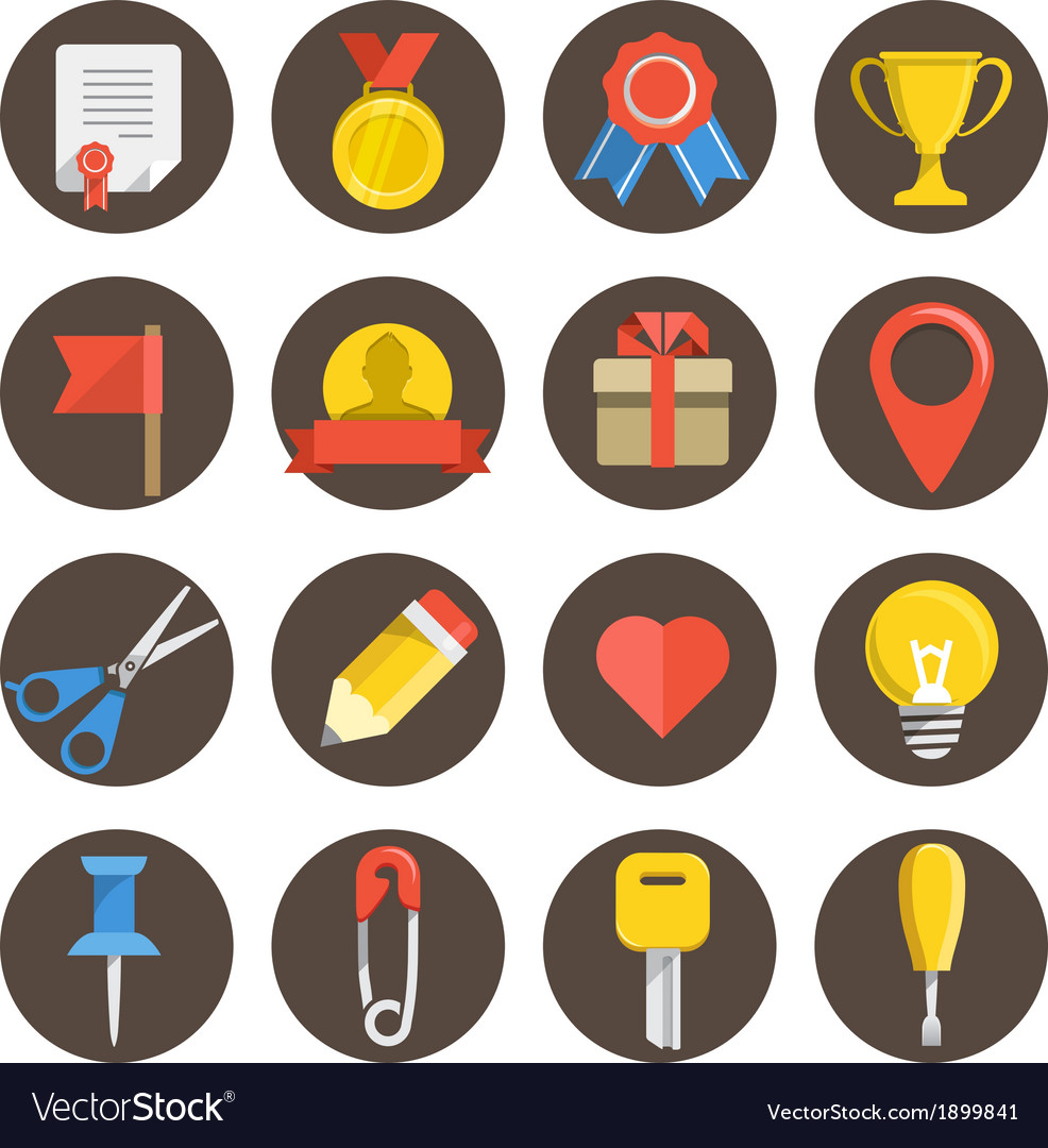 Different flat icons set on circles vector   Price: 1 Credit (USD $1)