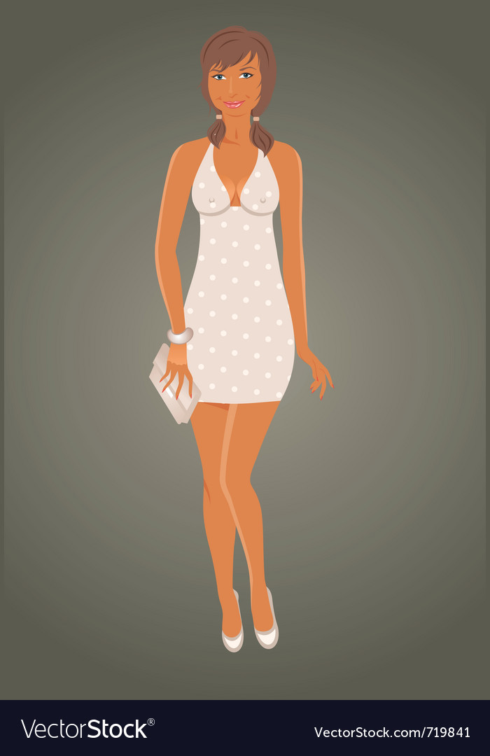 Fashion glamor girl in dress - vector | Price: 1 Credit (USD $1)