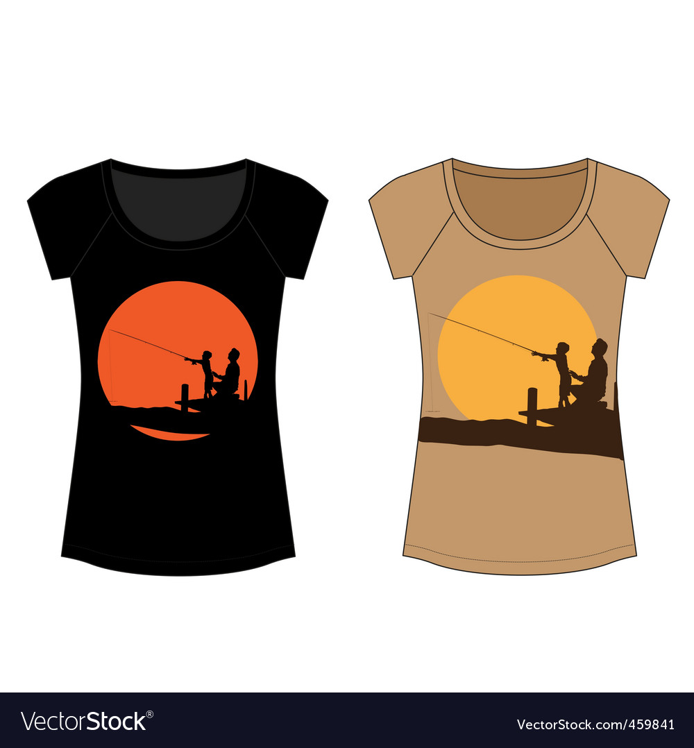 Fishing woman t shirt vector | Price: 1 Credit (USD $1)