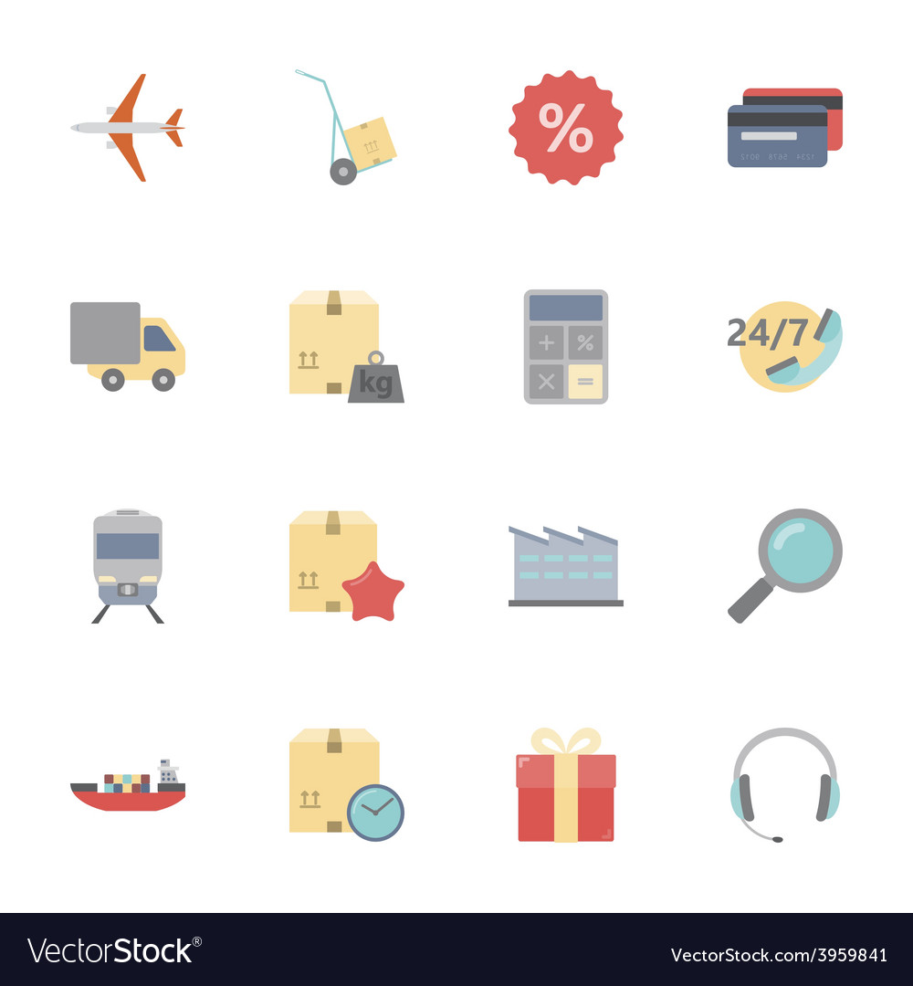 Logistics flat icons set vector | Price: 1 Credit (USD $1)