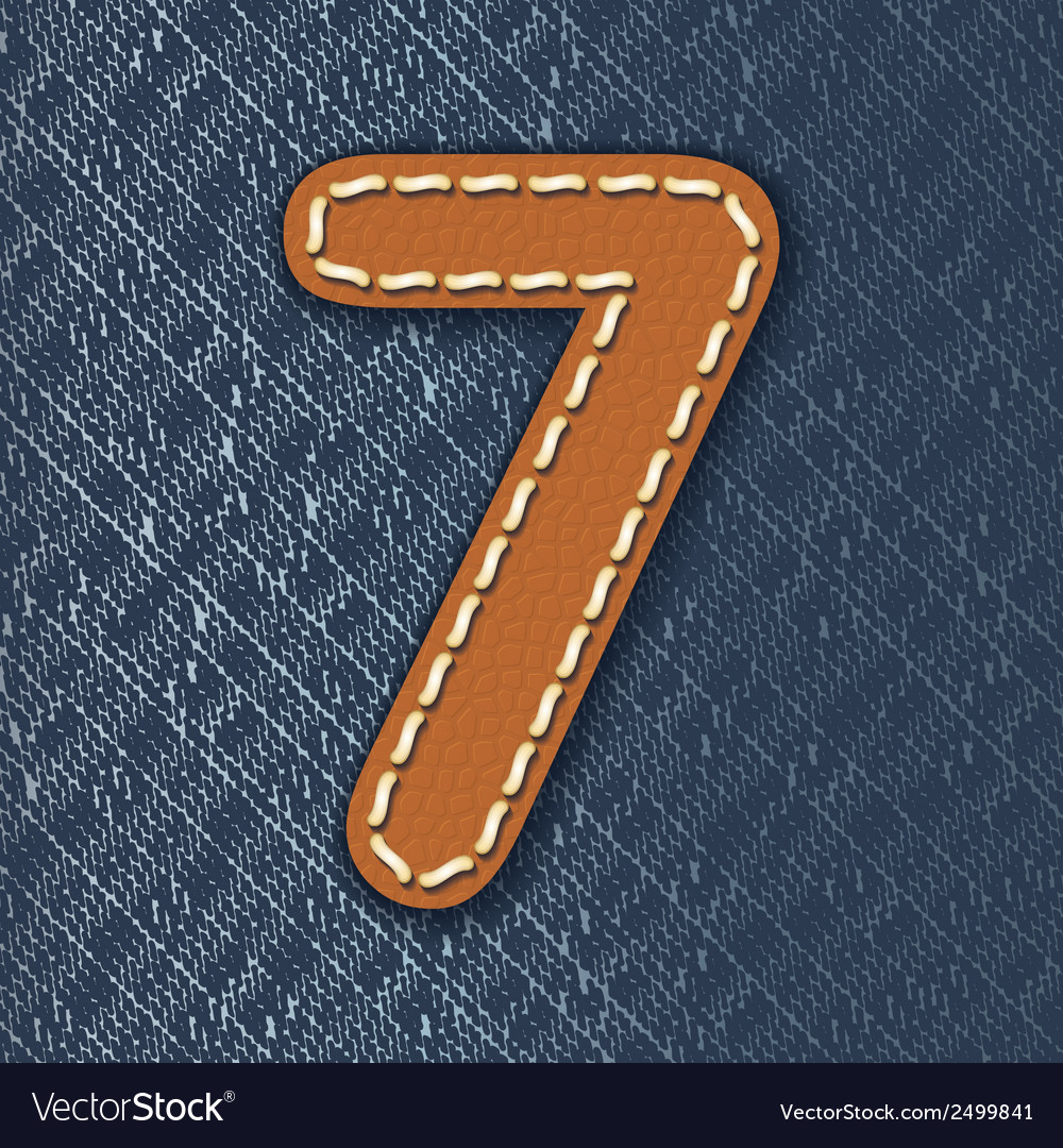 Number 7 made from leather on jeans background vector | Price: 1 Credit (USD $1)
