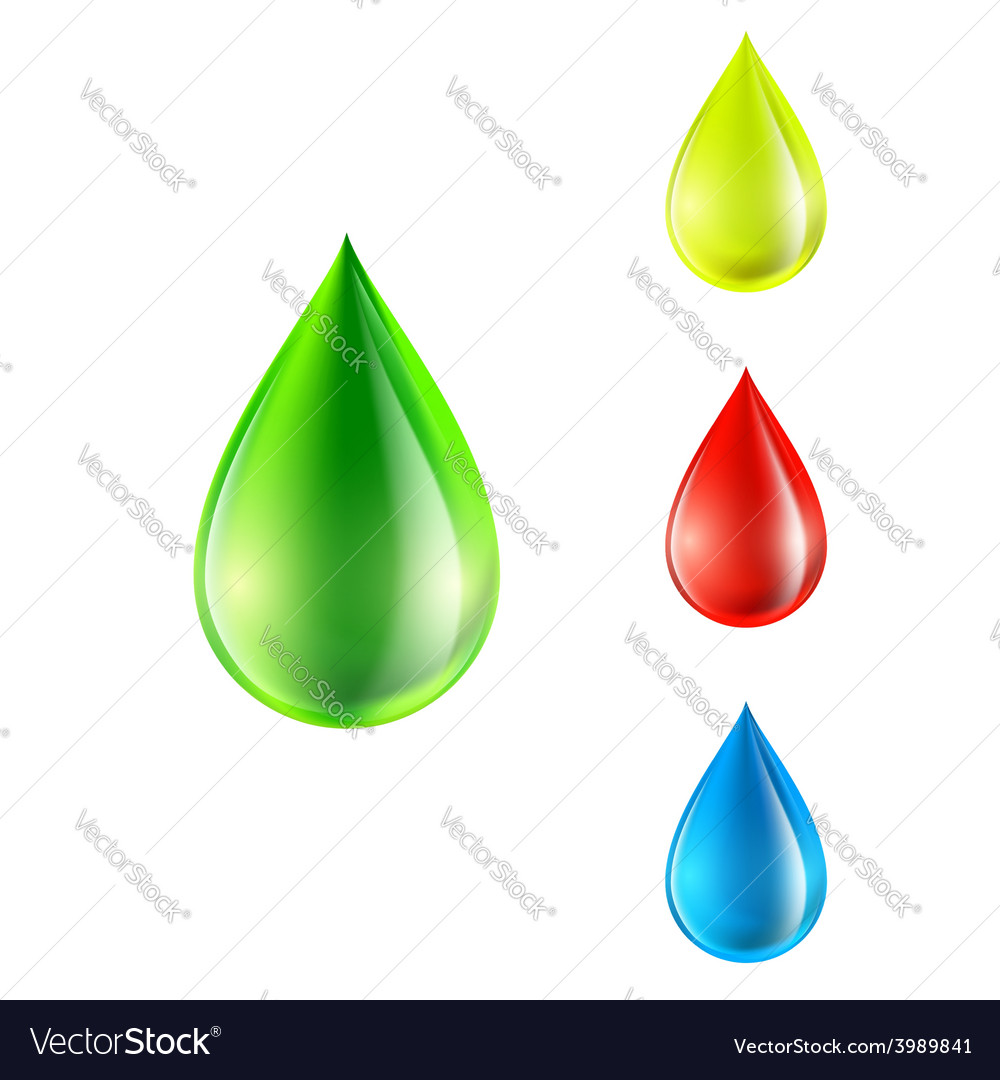 Set of colored drops vector | Price: 1 Credit (USD $1)