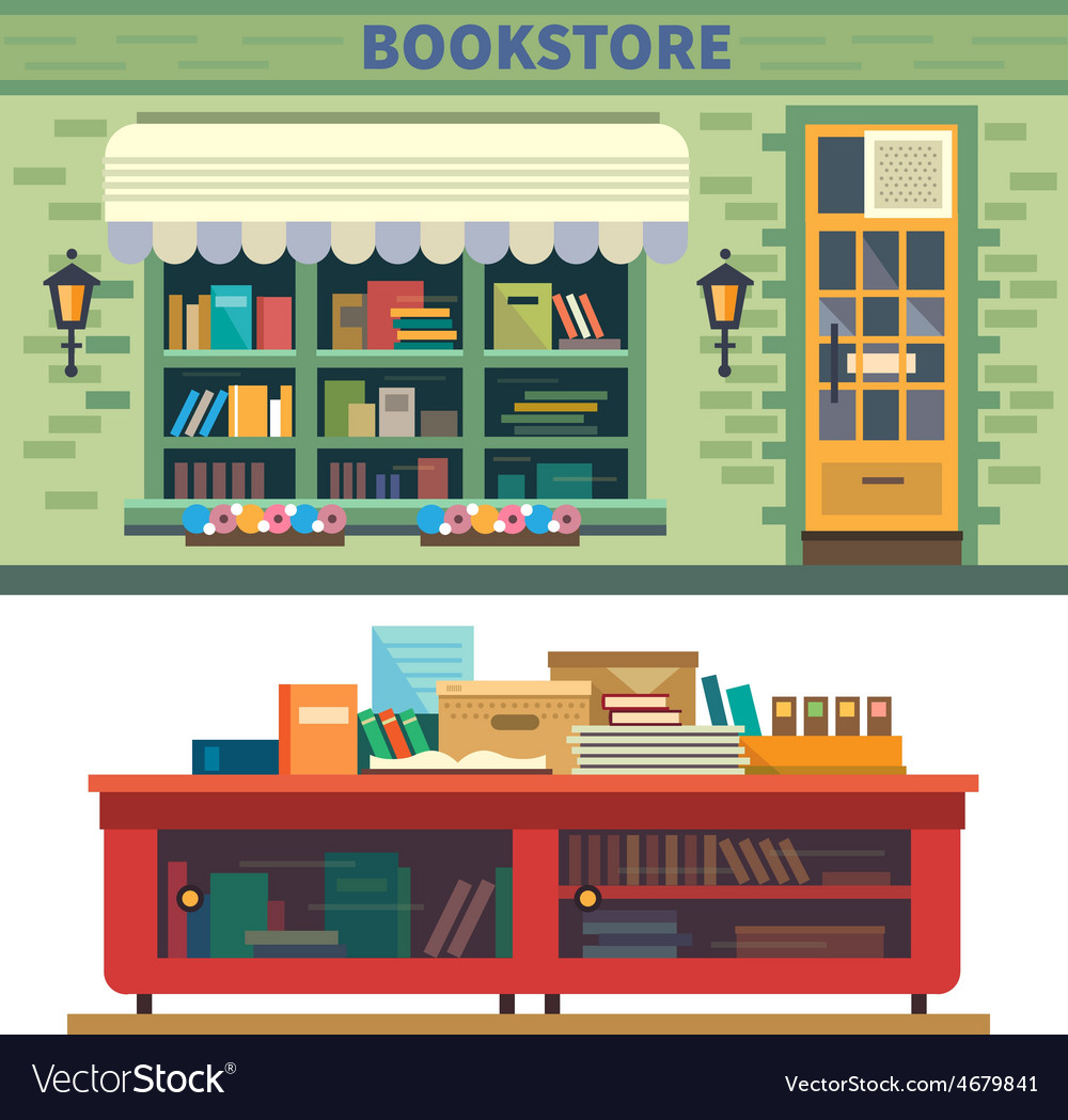 Storefront and a shelf with books vector | Price: 3 Credit (USD $3)