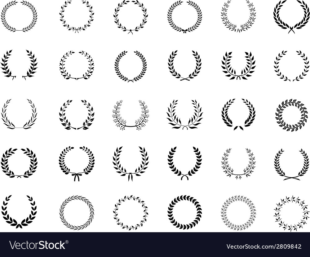 Big collection of black laurel wreaths vector | Price: 1 Credit (USD $1)