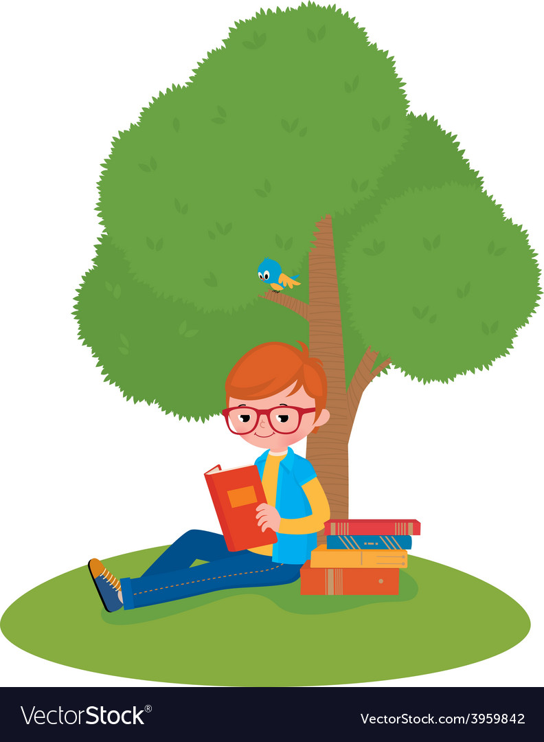 Boy reading a book sitting under a tree vector | Price: 1 Credit (USD $1)