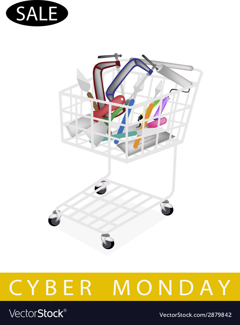 Builder tools in cyber monday shopping cart vector | Price: 1 Credit (USD $1)
