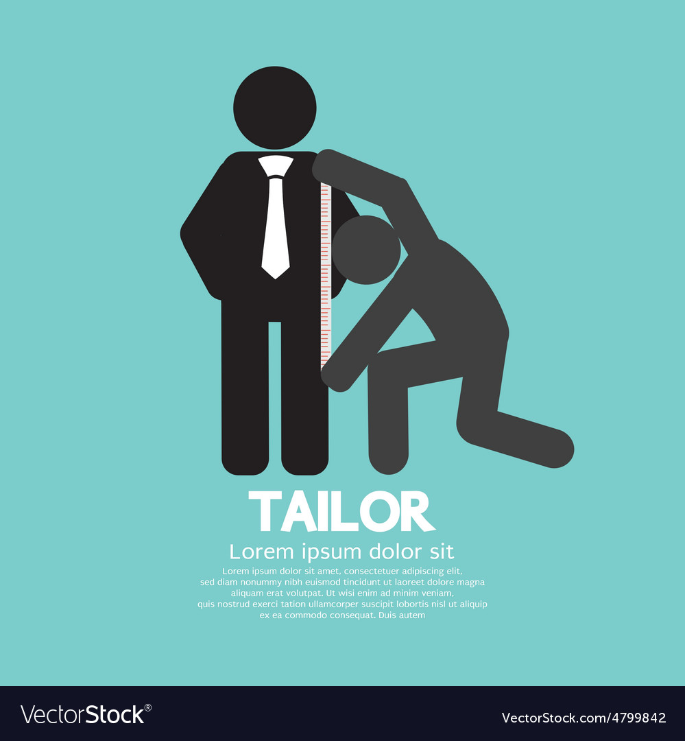 Customer getting measure by tailor symbol vector   Price: 1 Credit (USD $1)