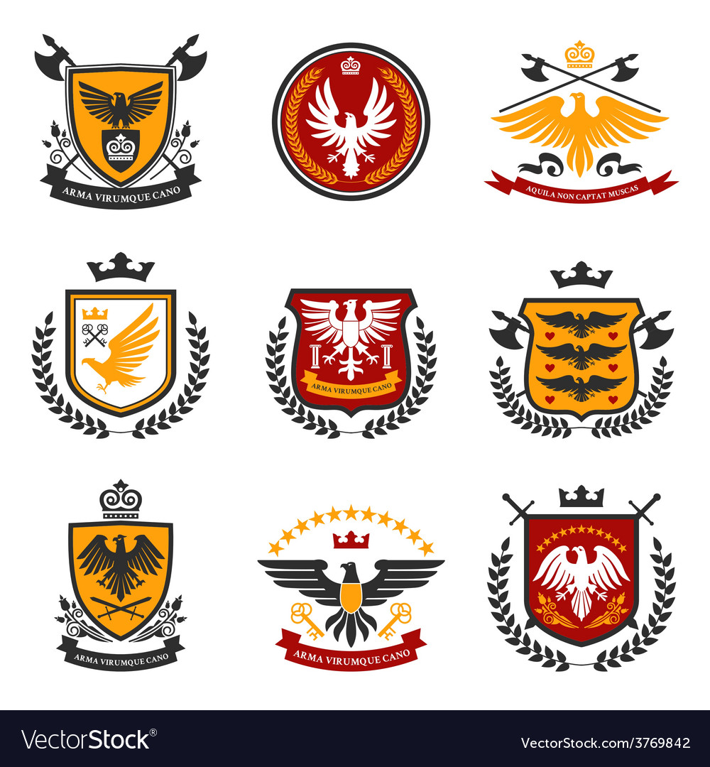 Eagle emblem set vector | Price: 1 Credit (USD $1)