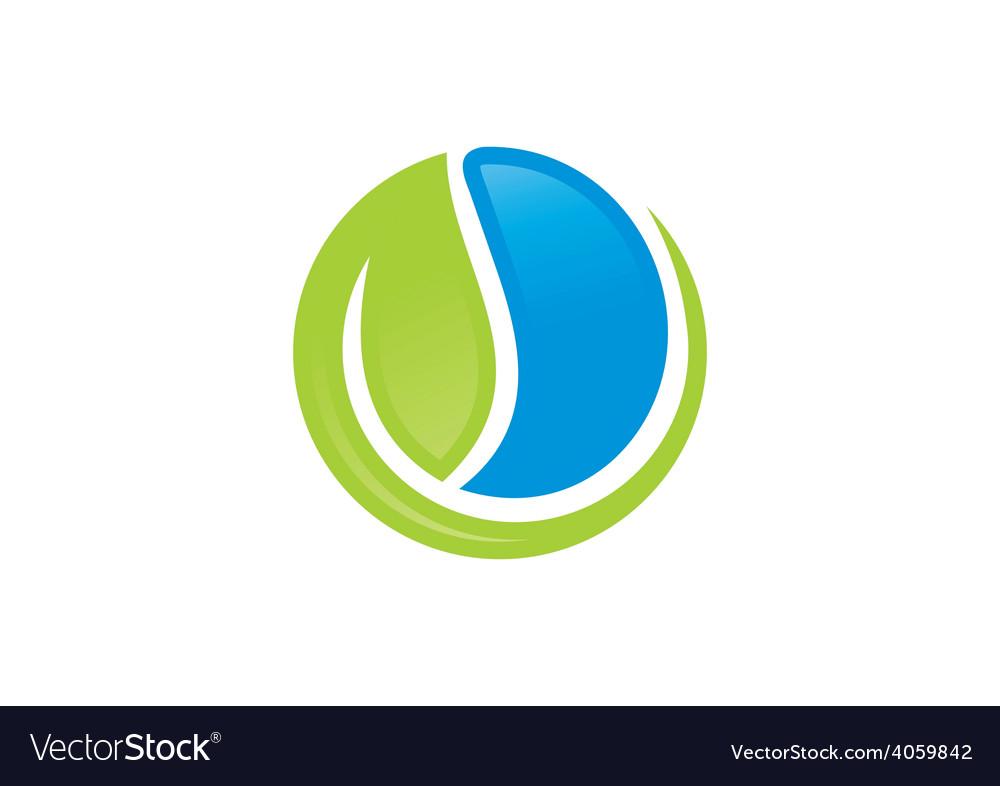 Ecology leaf water symbol logo vector | Price: 1 Credit (USD $1)