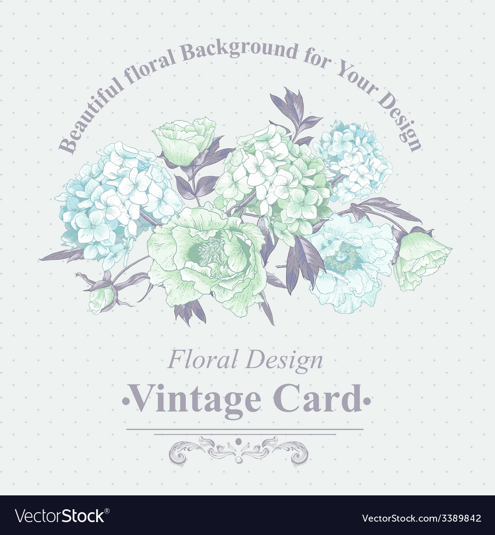 Gentle blue vintage floral greeting card vector | Price: 1 Credit (USD $1)