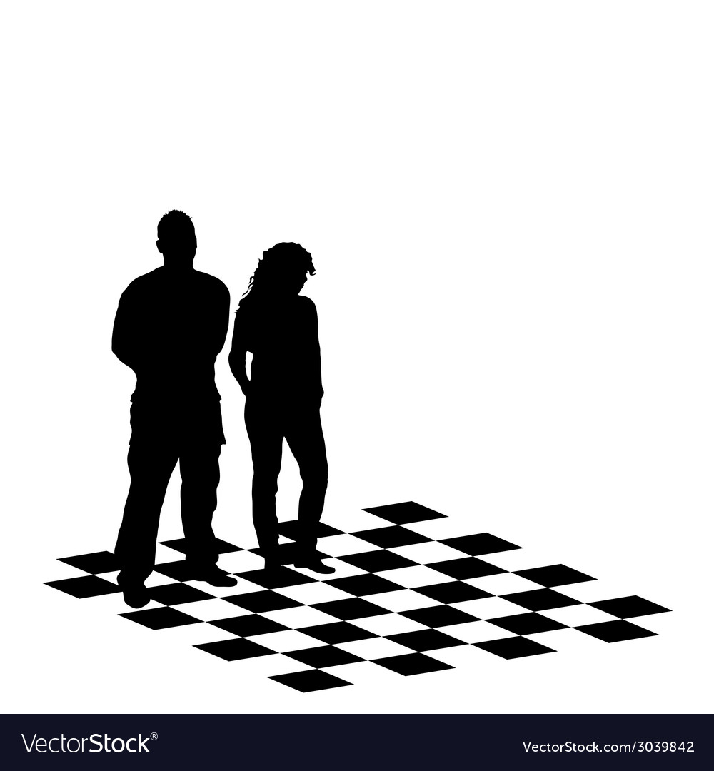 Man and girl on chess table vector | Price: 1 Credit (USD $1)