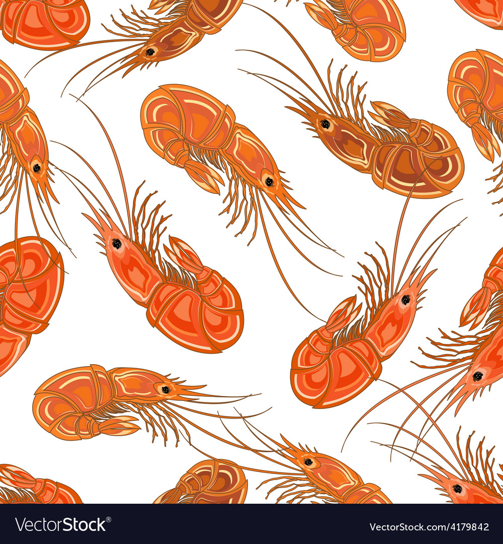 Seamless background with the prepared shrimps vector   Price: 1 Credit (USD $1)