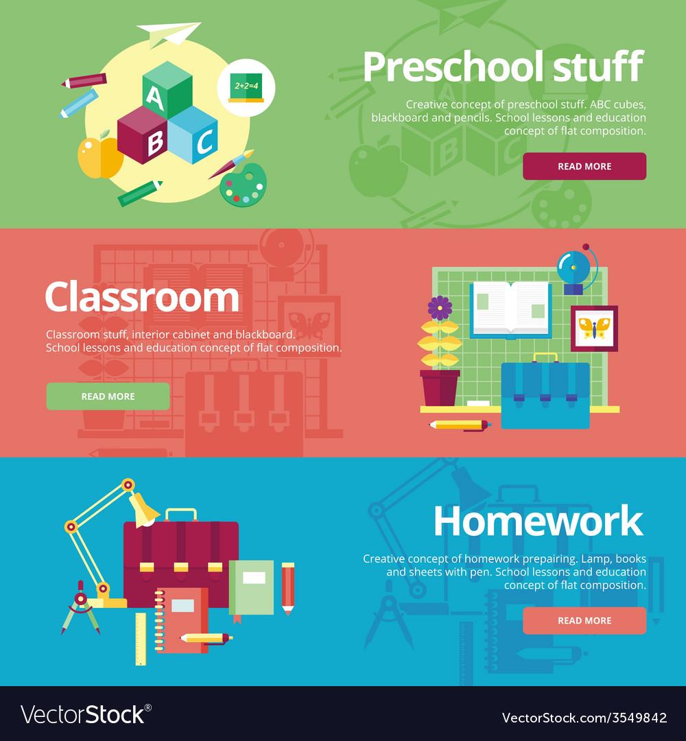 Set of flat design concepts for preschool vector | Price: 1 Credit (USD $1)