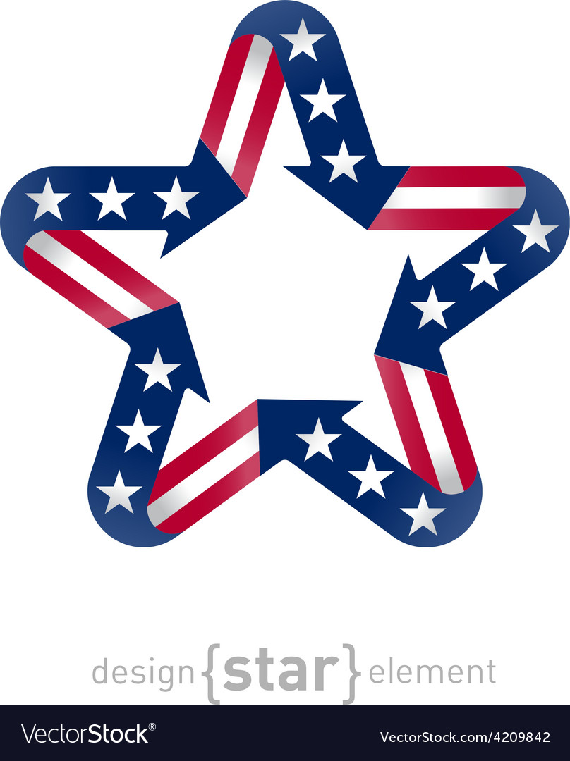 Star with american flag color and symbol design vector | Price: 1 Credit (USD $1)