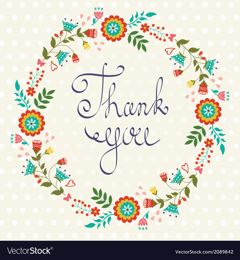 Thank you card with floral wreath vector | Price: 1 Credit (USD $1)