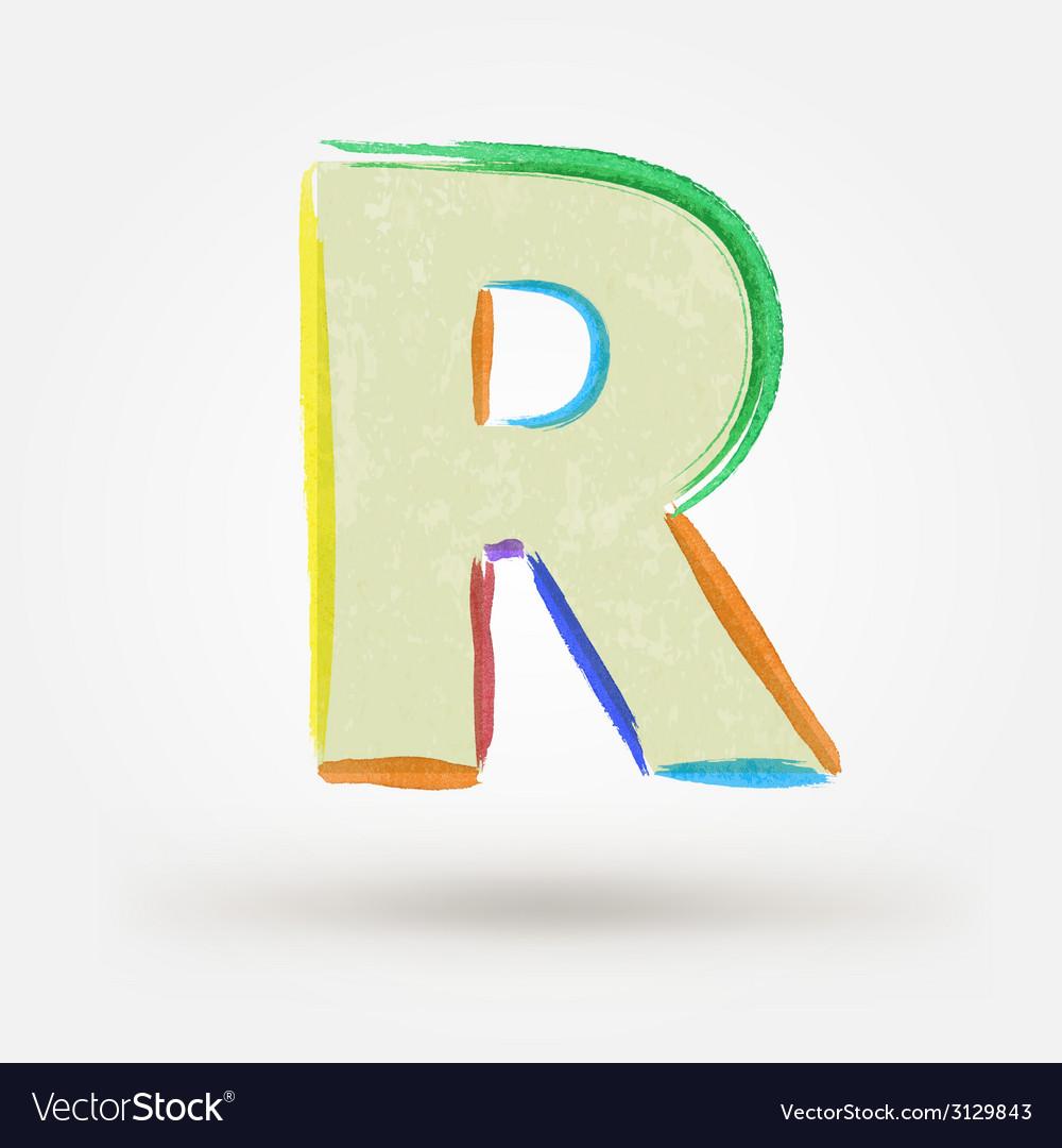 Alphabet letter r watercolor paint design element vector | Price: 1 Credit (USD $1)