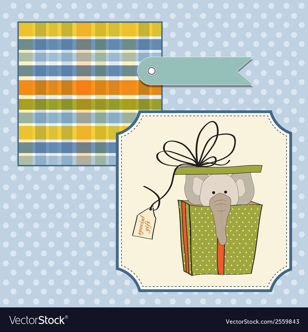Birthday card with elephant in gift box vector | Price: 1 Credit (USD $1)