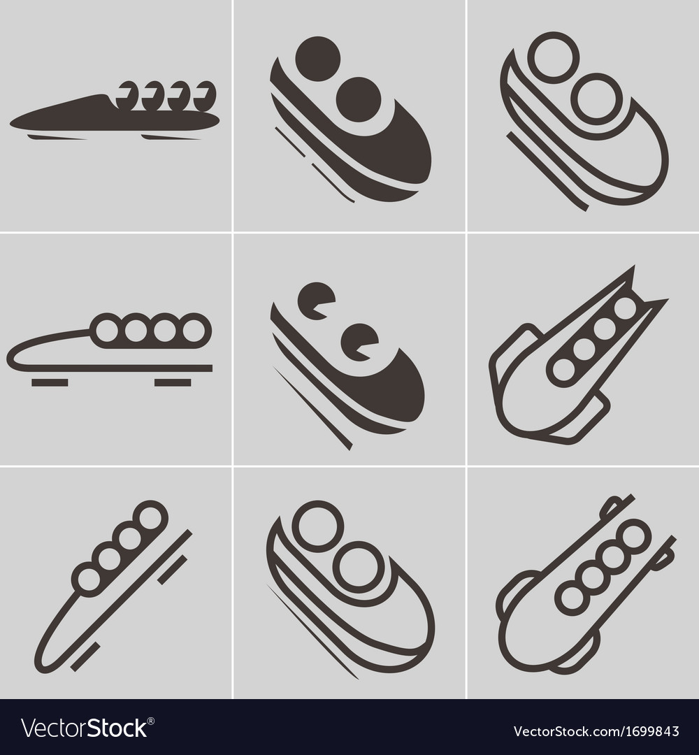 Bobsled icons vector | Price: 1 Credit (USD $1)
