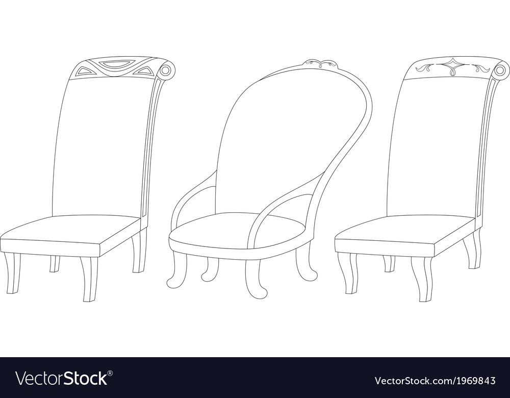 Chairs set contour vector | Price: 1 Credit (USD $1)