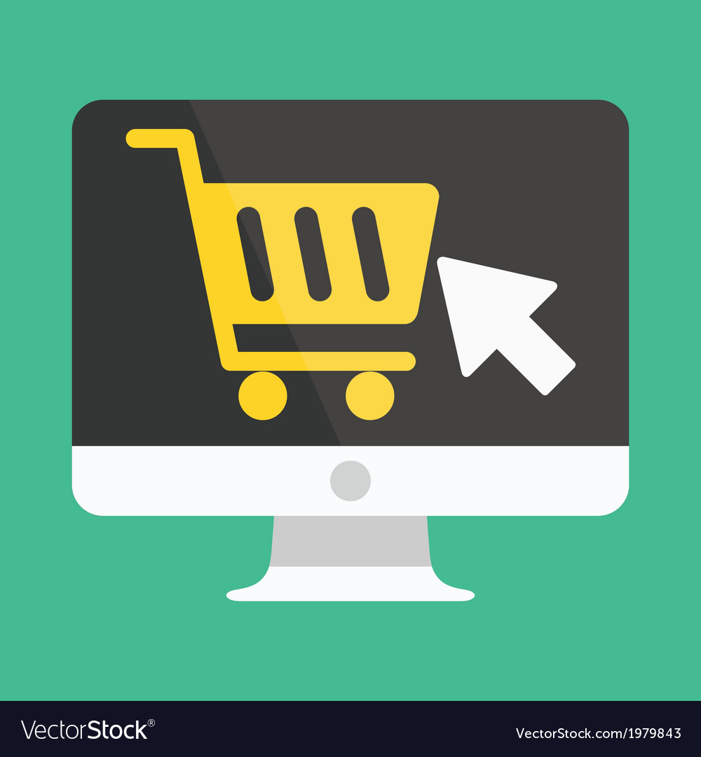 Computer display buy online icon ecommerce vector | Price: 1 Credit (USD $1)