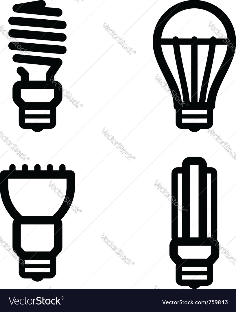 Ecology lamp pictograms vector | Price: 1 Credit (USD $1)