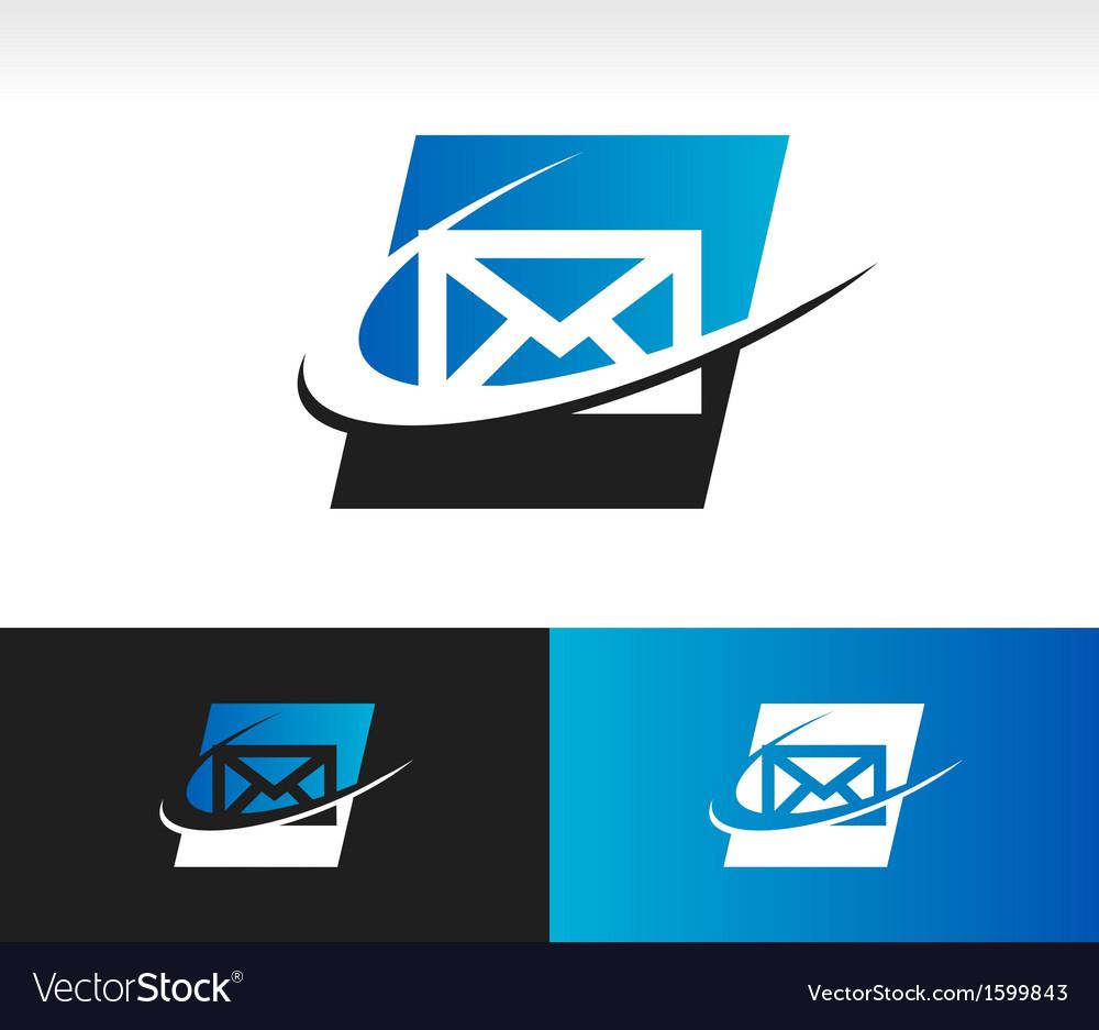 Envelope swoosh logo icon vector