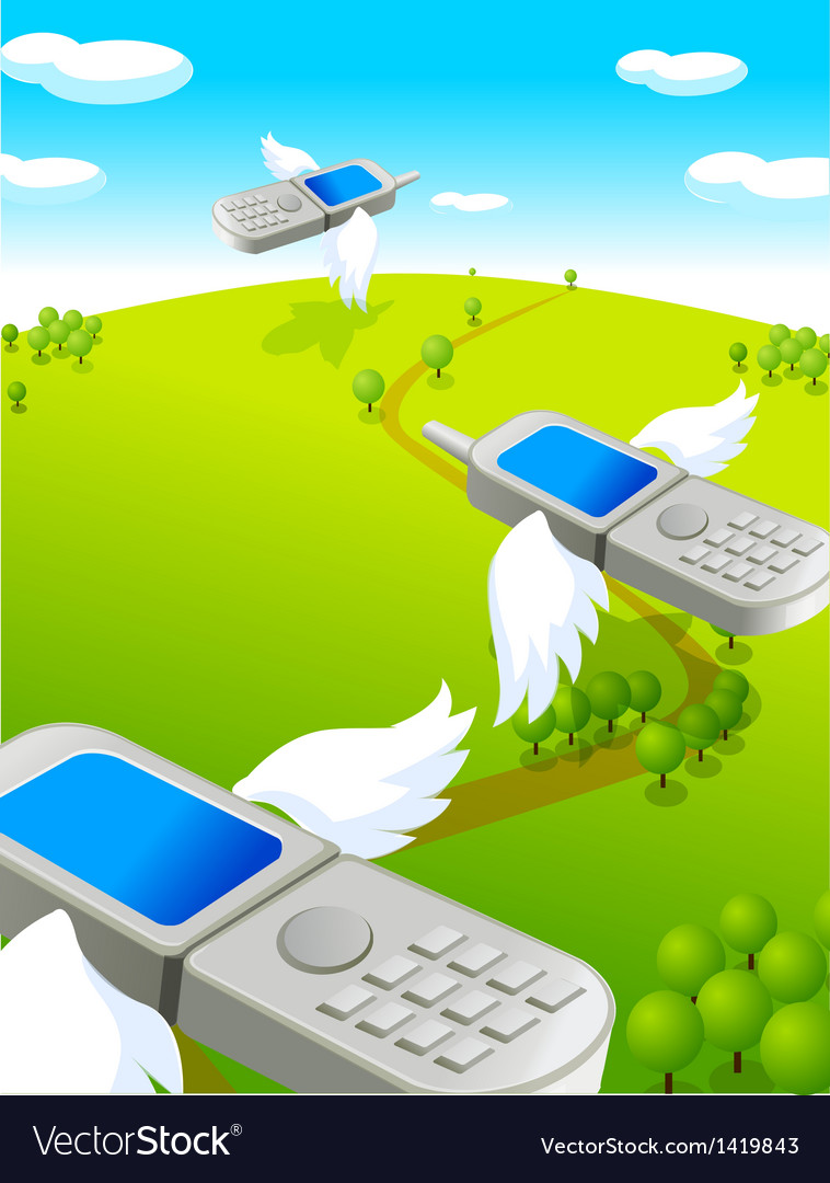 Flying cell phones vector | Price: 1 Credit (USD $1)