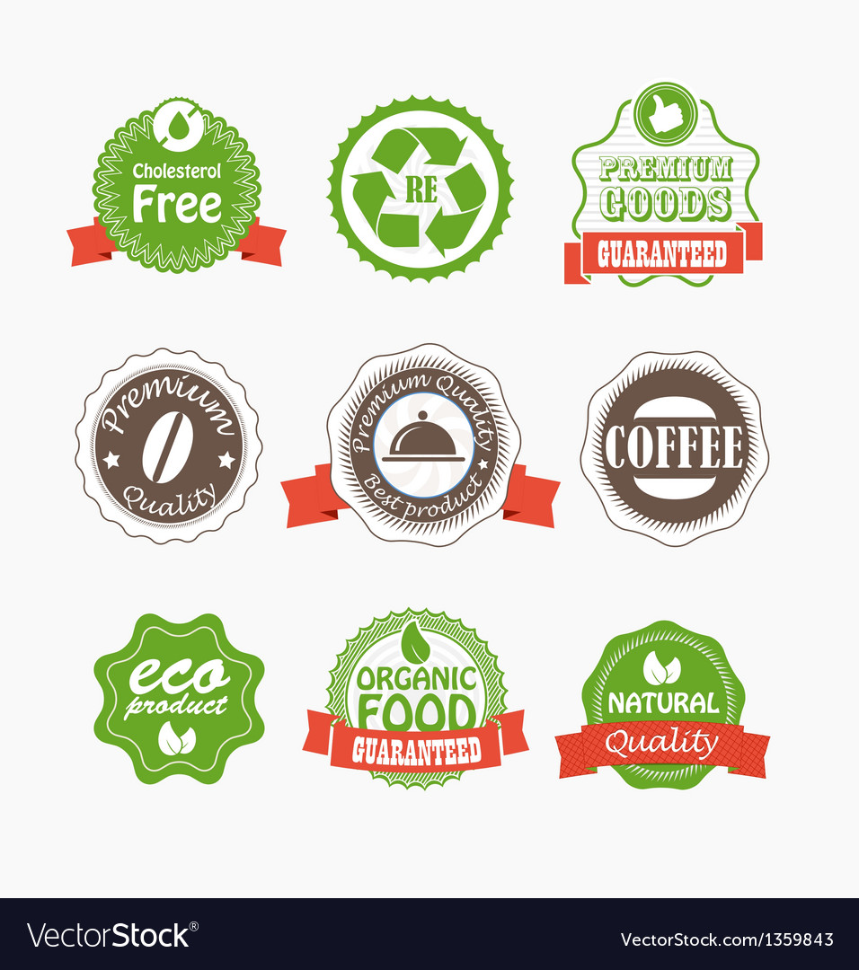Food quality labels collection vector | Price: 1 Credit (USD $1)