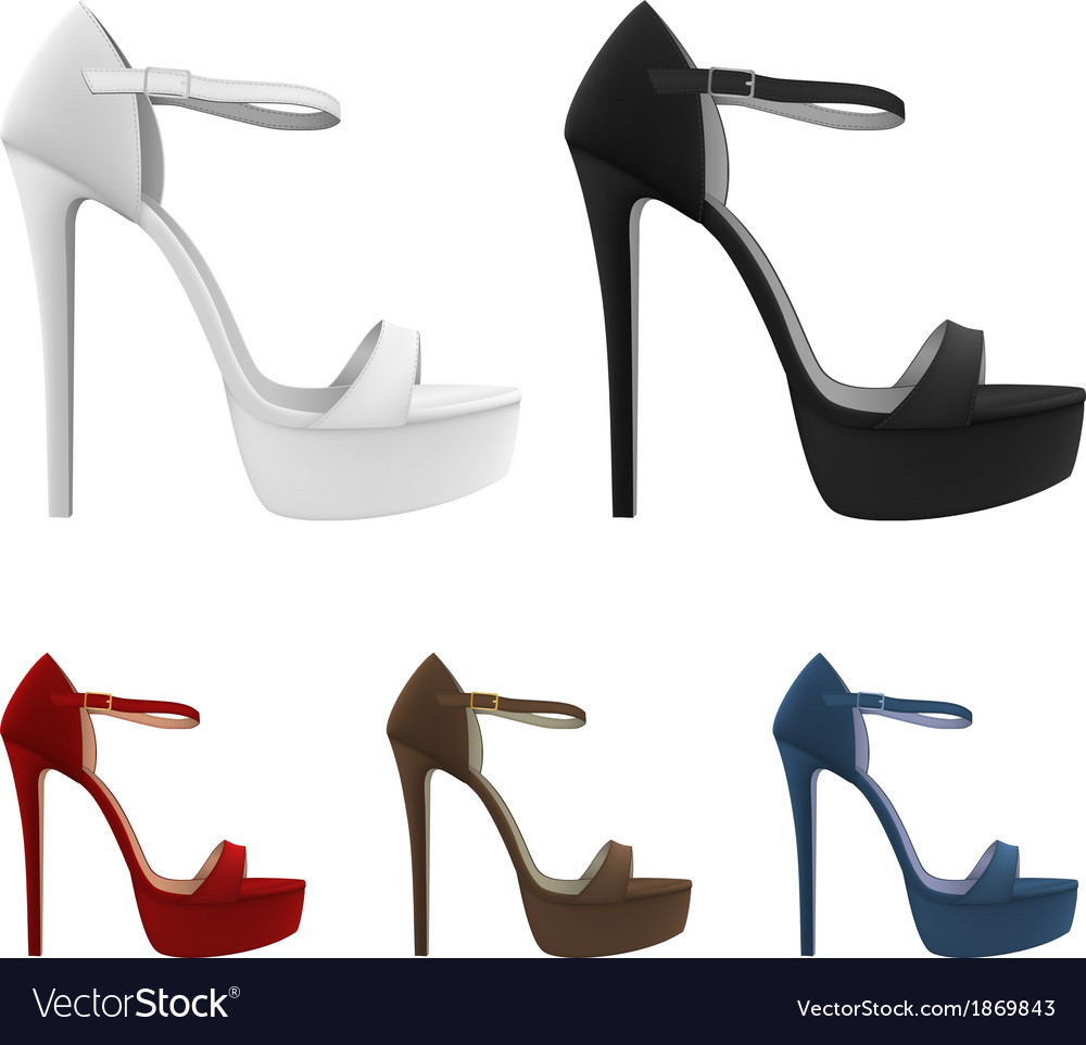 High-heeled blank shoes template vector | Price: 1 Credit (USD $1)