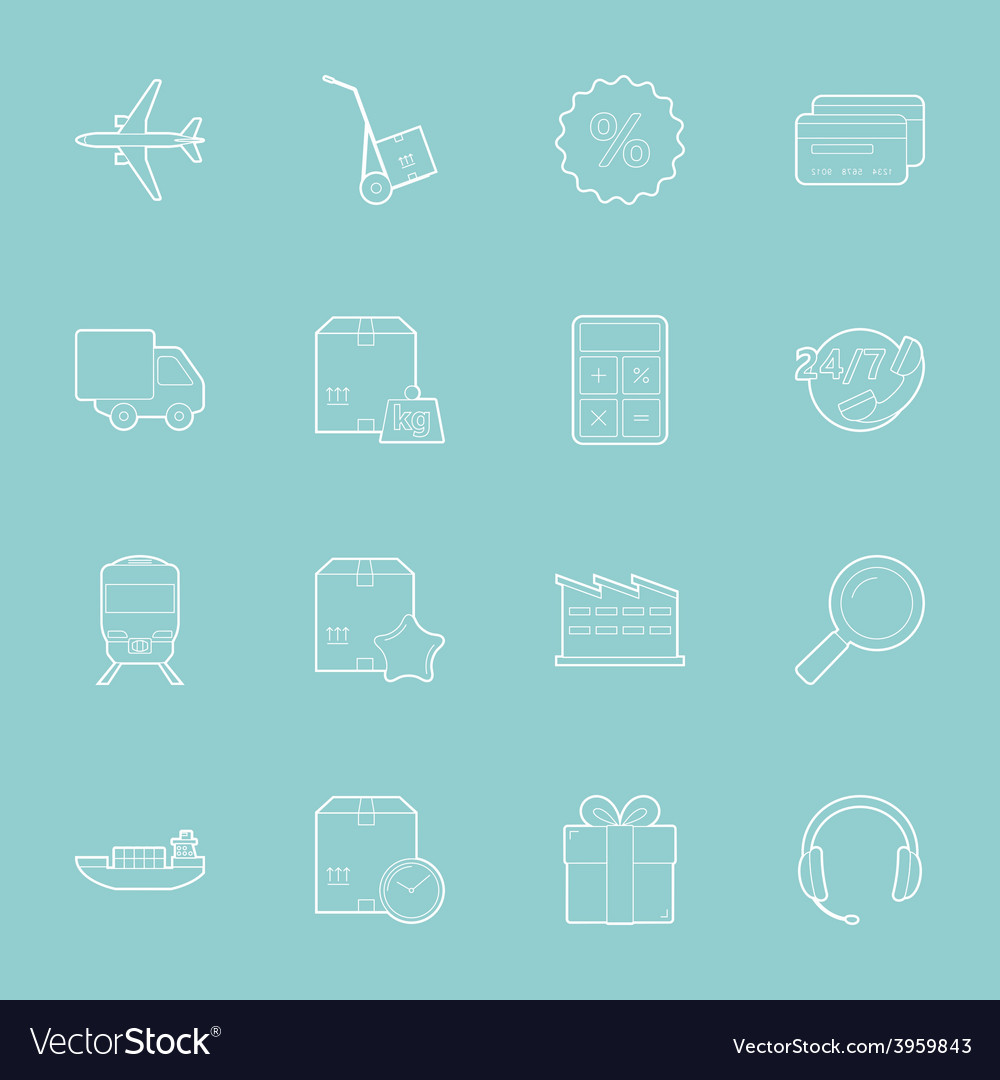 Logistics thin lines icons set vector | Price: 1 Credit (USD $1)