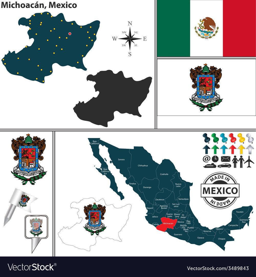 Map of michoacan vector | Price: 1 Credit (USD $1)